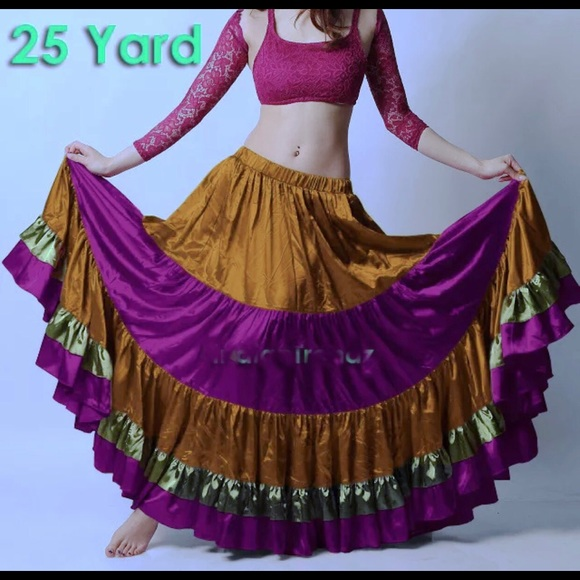 Gold, Green, Magenta. Dresses & Skirts - 25 Yds. Satin tiered Skirt Tribal Belly Dance.New